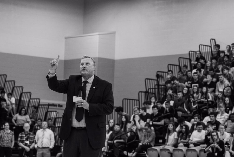 Mr.+Jeff+Fritchtnitch+addresses+the+student+body+at+the+pep+rally+on+day+one.+In+his+address%2C+he+talked+about+the+cell+phone+policy+and+school+spirit.+%0A