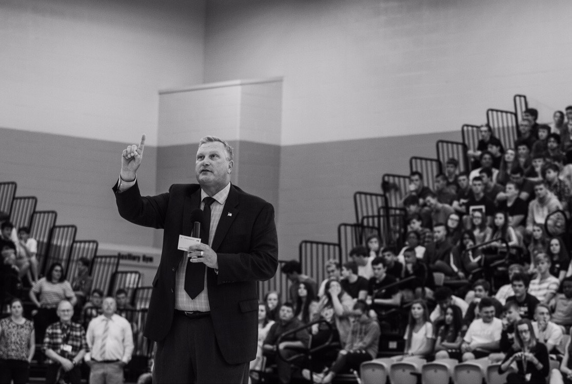 Mr. Jeff Fritchtnitch addresses the student body at the pep rally on day one. In his address, he talked about the cell phone policy and school spirit.