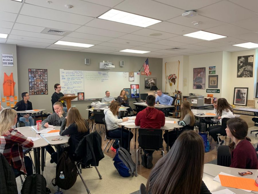 Student Council holds one of their weekly meetings in C127, Dr. Jamey VanZandt's room.