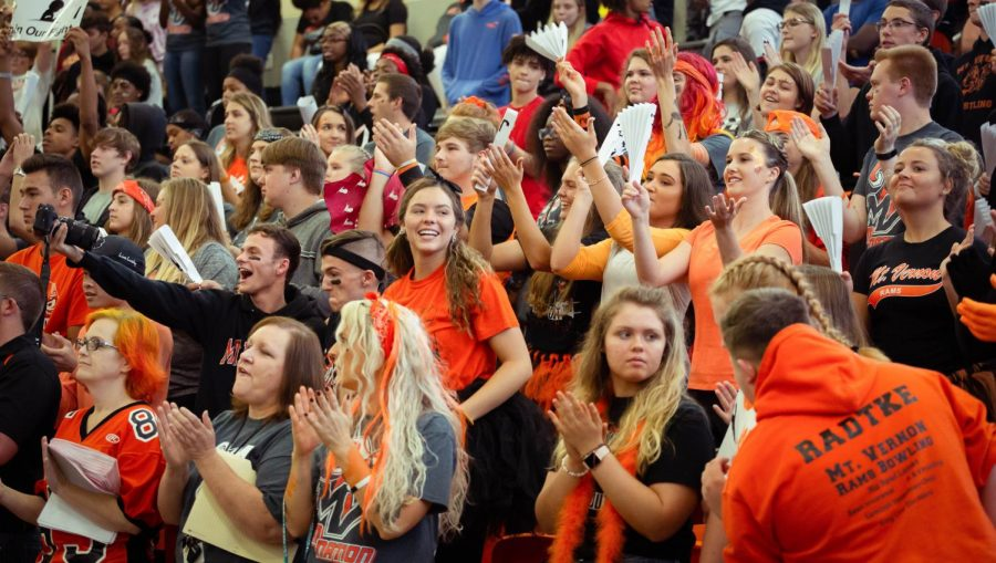 Seniors make some noise during the class competition at the Homecoming pep rally. The pep rally was held in October 2018 on the Friday before the Homecoming dance.